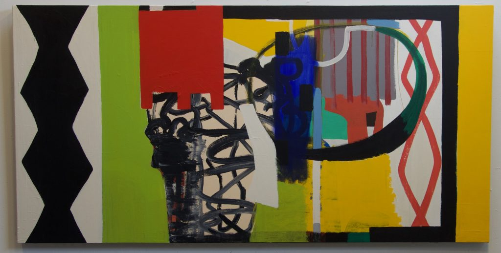 2527-X-2018, acrylic on canvas, 36 x 72 inches
